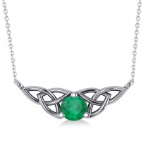 Celtic Round Emerald Pendant Necklace 14k White Gold (0.48ct)