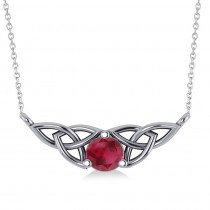 Celtic Round Ruby Pendant Necklace 14k White Gold (0.60ct)
