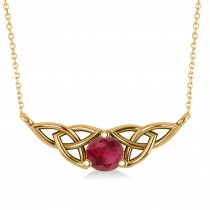 Celtic Round Ruby Pendant Necklace 14k Yellow Gold (0.60ct)