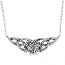 Celtic Round Diamond Pendant Necklace 14k White Gold (1.00ct)