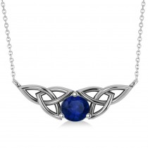 Celtic Round Blue Sapphire Pendant Necklace 14k White Gold (1.30ct)