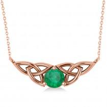 Celtic Round Emerald Pendant Necklace 14k Rose Gold (1.16ct)