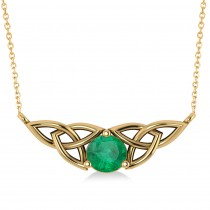 Celtic Round Emerald Pendant Necklace 14k Yellow Gold (1.16ct)
