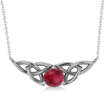 Celtic Round Ruby Pendant Necklace 14k White Gold (1.30ct)