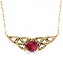 Celtic Round Ruby Pendant Necklace 14k Yellow Gold (1.30ct)