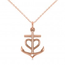 Anchor & Heart Pendant Necklace 14k Rose Gold
