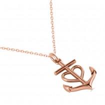 Anchor & Heart Pendant Necklace 14k Rose Gold