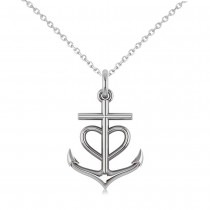 Anchor & Heart Pendant Necklace 14k White Gold