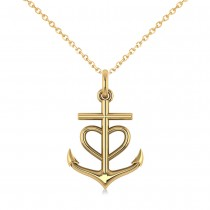 Anchor & Heart Pendant Necklace 14k Yellow Gold