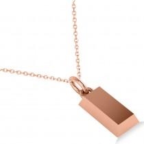 Gold Bullion Bar Pendant Necklace 14k Rose Gold