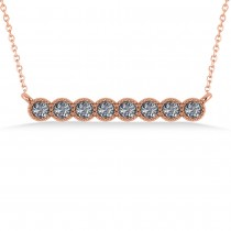 Diamond Bar Bezel Set Pendant Necklace 14k Rose Gold (0.40ct)