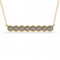 Diamond Bar Bezel Set Pendant Necklace 14k Yellow Gold (0.40ct)