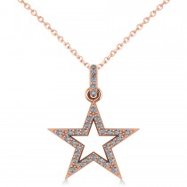 Star Shaped Diamond Pendant Necklace 14k Rose Gold (0.36ct)