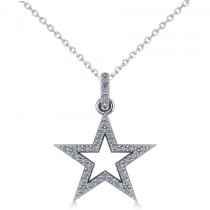 Star Shaped Diamond Pendant Necklace 14k White Gold (0.36ct)