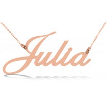Personalized Script Font Nameplate Pendant Necklace in Solid 14k Rose Gold