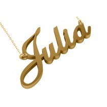 Personalized Script Font Nameplate Pendant Necklace Solid 14k Yellow Gold