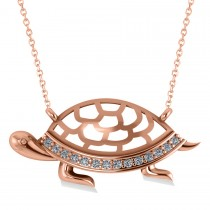 Turtle Diamond Accented Pendant Necklace 14k Rose Gold (0.14ct)