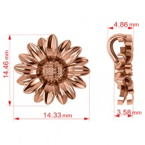 Multilayered Daisy Flower Pendant Necklace 14K Rose Gold