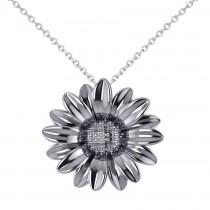 Multilayered Daisy Flower Pendant Necklace 14K White Gold