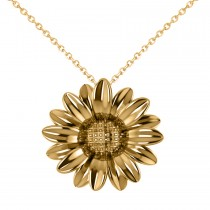 Multilayered Daisy Flower Pendant Necklace 14K Yellow Gold