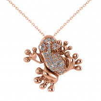 Diamond Accented Frog Pendant Necklace 14K Rose Gold (0.53ct)