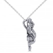 Diamond Accented Frog Pendant Necklace 14K White Gold (0.53ct)