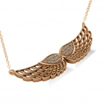 Diamond Angel Wings Pendant Necklace 14k Rose Gold (0.11ct)