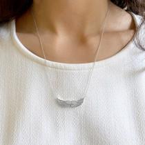 Diamond Angel Wings Pendant Necklace 14k White Gold (0.11ct)