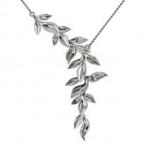 Vine Leaf Pendant Necklace 14k White Gold