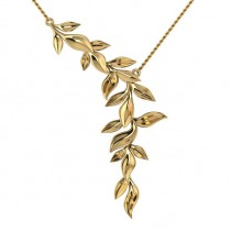 Vine Leaf Pendant Necklace 14k Yellow Gold