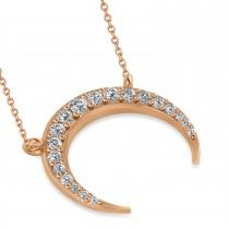 Diamond Crescent Moon Horn Pendant 14k Rose Gold (0.24ct)