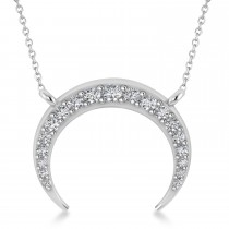Diamond Crescent Moon Horn Pendant 14k White Gold (0.24ct)