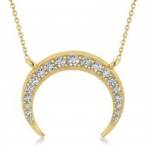Diamond Crescent Moon Horn Pendant 14k Yellow Gold (0.24ct)
