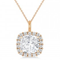 Cushion Cut Diamond Halo Pendant 14k Rose Gold (0.78ct)