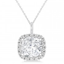 Cushion Cut Diamond Halo Pendant 14k White Gold (0.78ct)