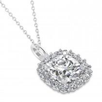 Cushion Cut Diamond Halo Pendant 14k White Gold (0.78ct)