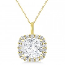 Cushion Cut Diamond Halo Pendant 14k Yellow Gold (0.78ct)