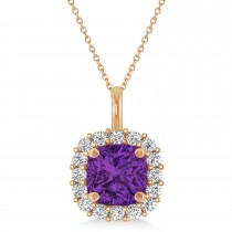 Cushion Cut Amethyst & Diamond Halo Pendant 14k Rose Gold (0.92ct)