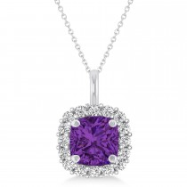 Cushion Cut Amethyst & Diamond Halo Pendant 14k White Gold (0.92ct)
