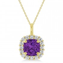 Cushion Cut Amethyst & Diamond Halo Pendant 14k Yellow Gold (0.92ct)