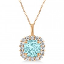Cushion Cut Aquamarine & Diamond Halo Pendant 14k Rose Gold (0.92ct)