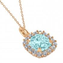 Cushion Cut Aquamarine & Diamond Halo Pendant 14k Rose Gold (0.92ct)