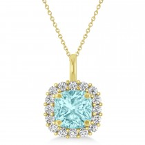 Cushion Cut Aquamarine & Diamond Halo Pendant 14k Yellow Gold (0.92ct)
