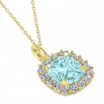 Cushion Cut Aquamarine & Diamond Halo Pendant 14k Yellow Gold (0.92ct)