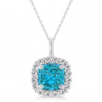Cushion Cut Blue & White Diamond Halo Pendant 14k Blue Gold (0.78ct)