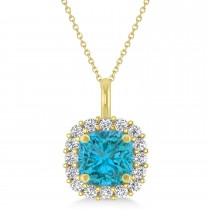 Cushion Cut Blue & White Diamond Halo Pendant 14k Yellow Gold (0.78ct)