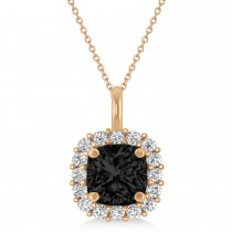 Cushion Cut Black & White Diamond Halo Pendant 14k Rose Gold (0.78ct)