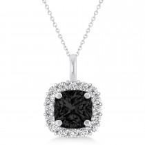 Cushion Cut Black & White Diamond Halo Pendant 14k White Gold (0.78ct)