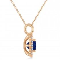 Cushion Cut Blue Sapphire & Diamond Halo Pendant 14k Rose Gold (0.92ct)