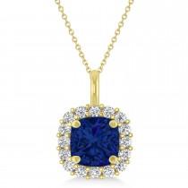 Cushion Cut Blue Sapphire & Diamond Halo Pendant 14k Yellow Gold (0.92ct)